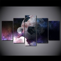 nude lovers paintings 2019 - Wall Art Canvas Painting 5 piece Football Starry Sky HD Print Wall Canvas Art For Sport Lover Room Decor Free Shipping C