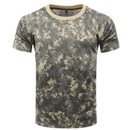 Discount combat shirt green - Summer T-Shirt Men Quick Dry Camouflage Short Sleeve O Neck Cotton Tactical T shirt Breathable Combat Camo Tee 8 Colour