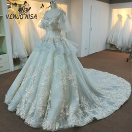 $enCountryForm.capitalKeyWord NZ - wholesale high quality real photos luxury Lace embroidery nice wedding dress customer order Cathedral  Royal Train 3D Flowers