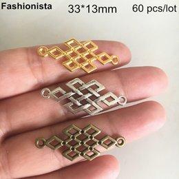 Bronze Connectors NZ - 60 pcs Rhombus Connectors 33*13mm,Gold-color,Silver-color,Bronze,Chinese Knot Charm Connectors,DIY Jewelry & Crafts Supplies