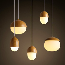 Discount mushroom pendant light - Nordic Creative Wood Grain Glass Nuts Pendant Light Mushroom Droplight Hang Lamp E27