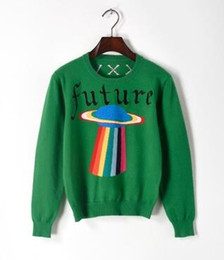 Love stitch cLothing online shopping - hot selling Top quality Italy Luxury Sweaters blind love tee future rainbow UFO printing High street fashion clothing green XL