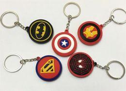 Batman Figure Wholesale Australia - Cartoon Round Avengers Superman Batman Spiderman Iron Man Silicone Pendant Figure Model Key Chain phone keychain