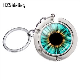 trendy cat glasses 2019 - Fashion Blue Red Yellow Cats Eyes Art Glass Cabochon Photos Bag Hanger Keyrings Accessories Jewelry cheap trendy cat gla
