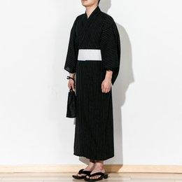 Robes 2019 Child Kid Japanese Kimono Yukata Bathrobe Matching Belt Stripe Pajamas Cotton Robe Clothing Long Summer New