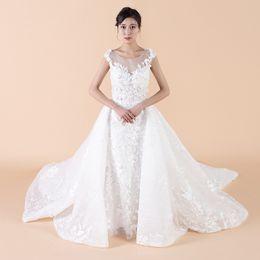 $enCountryForm.capitalKeyWord Canada - Detachable Train Wedding Dress Applique Beaded A-Line Count Train Sleeveless Tank Lace See-Through Zipper Back Elegant Wedding Gowns