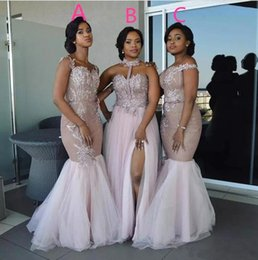 Order wedding dresses online shopping - Mix Order Lace Mermaid Long Bridesmaid Dresses Off The Shoulder Tulle Applique Split Floor Length Maid of Honor Wedding Guest Dresses BA9272