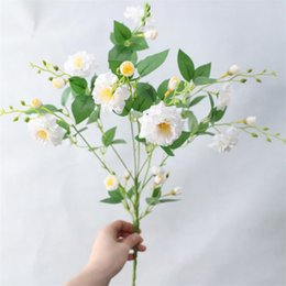 bunch white rose NZ - Fake Chinese Rose Bunch (7 stems piece) Simulation Rosa Chinensis for Wedding Home Showcase Decorative Artificial Flowers