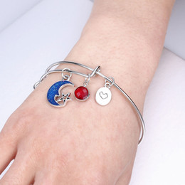 red crystal bangles NZ - New Fashion Moon Star Charm Bracelets Crystal Bangles Love Frendship Jewelry Wedding Party women Gift Free shipping