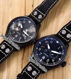 Cheap big dial watChes online shopping - New mm IW501002 PVD Steel All Black Dial Date Automatic Mens Watch Brown Leather Strap Sports Watches Cheap High Qualtiy Big Crown b2