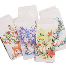 Wholesale Stationary Papers UK - 12 Piece   Piece Cute Deer Scrapbooking Design Packed Paper Envelope For Gift Cards Stationary Paper Storage Office Christmas