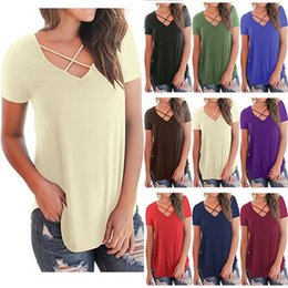 v collar t shirts xl size 2019 - Spring Summer Womens Sexy T-shirt Low Chest Cross V collar Short Sleeve Loose T-shirt Eight Color S-XL Size discount v c
