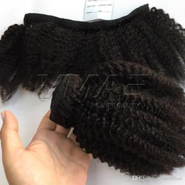 inch clip hair extensions 2019 - Afro Kinky Curly Clip In Hair Extensions 4A 4C Natural Color 7Pcs set 100g 120g 140g Virgin Human Hair Weave Bundles 8-2