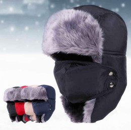 9fc857d3171 Russian Army Trooper Hats 4 Colors Bomber Hat Aviator Winter Hat Warm Cap  Skiing Ear flaps Bomber Outdoor Caps OOA5692