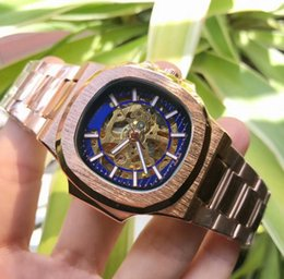 $enCountryForm.capitalKeyWord Australia - Luxury High Quality Black and gold Watch Stainless Steel 42mm Mechanical Transparent Automatic Men's Watches free shipping B28