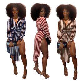 $enCountryForm.capitalKeyWord NZ - Fashion Striped Printing Women Shirt Dresses with Sash V Neck Long Sleeves High Side Split Sexy Casual Dress Autumn Outwear 2018 Hot Style