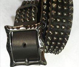 belt riveted men 2019 - 2016 Cinturon Heavy Metal Rivet 100% Genuine Leather Punk Belts Men HipHop Cowboy Motorcycle Rock Men Belt brand new BT0