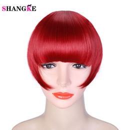 Discount clip heat resistant hair extensions - SHANGKE Short Frange Hair Bangs Hairpiece Heat Resistant Synthetic Clip In Hair Extensions Bangs False Piece 8 Colors