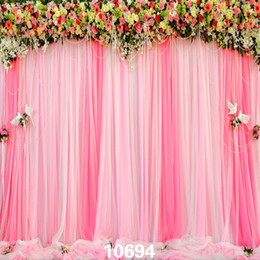 flowers studios background Australia - Pink Curtains Flowers Wedding Indoor 5X7ft Children Baby Wedding Vinyl Photography Backdrops Backgrounds for Photo Studio