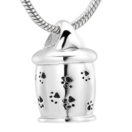 Discount gold pendants dog - Pet Cremation Urn Necklace Stainless Steel Dog Paw Prints Pendant Perfume Bottle Ashes Holder Cremation Jewelry Ashes Ne