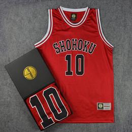 Afundanço Shohoku colegial No. 10 Hanamichi Sakuragi Cosplay colete camisa de basquete em Promoção