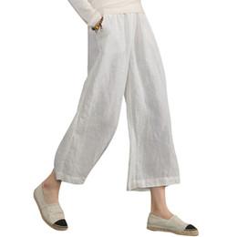 9e551bf651 Mujeres Algodón Lino pantalones anchos de la pierna Cintura elástica Color  sólido Suave Señora del verano Pantalones sueltos Pantalones suaves  ocasionales ...
