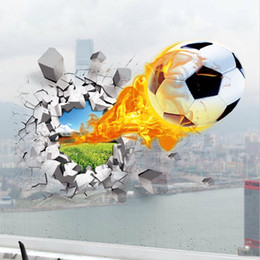 football murals Canada - 3D Self-adhesive Removable Break Through the Wall Flying Fire Football Vinyl Wall Stickers Murals Art Decals Decorator