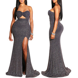 wholesale sexy mermaid maxi dress Australia - Women New 2019 Night Club Sequins Dress Hollow Out Strapless Cutout High Side Slit Sexy Backless Mermaid Gown Maxi Dresses