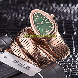 Cheap Ladies Watch Bracelet NZ - 8 Color Cheap Luxry Serpenti Tubogas 103002 Green Dial Swiss Quartz Womens Watch Rose Gold Case Double loop Bracelet Fashion Lady Watches 08