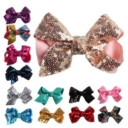 $enCountryForm.capitalKeyWord Australia - New 2019 Christmas Embroidery Sequin Bows WITH CLIP For Baby Girls Christmas Gifts Kids Hair DIY Accessories