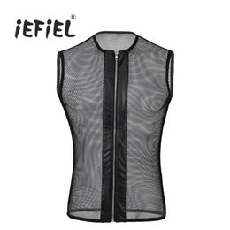 Barato Lingerie Sexy Da Camisa De T-Wholesale-iEFiEL New 2017 Men Sexy Zipper Frontal sem mangas See-through Leather Fishnet Hollow Out Muscle T-Shirt Tank Tops Sex Lingerie