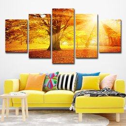 $enCountryForm.capitalKeyWord Canada - Modern Home Decor Canvas Painting HD Printed Room Wall Art Poster 5 Panel Autumn Morning Woods Landscape Pictures