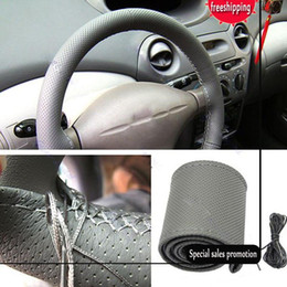 Wholesale Universal Anti-slip Breathable PU Leather DIY Car Steering Wheel Cover Case With Needles and Thread Free Shipping