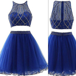 Dress Real Australia - 2018 Two Pieces Short Prom Dresses Royal Blue Tulle Sheer Beaded Real Photo Piping Special Occasion Homecoming Party Gowns Custom Made