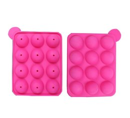 China 12 wells Silicone Tray Pop Lollipop Pops Mould Case Cupcake Baking chocolate Mold Party Kitchen Tools 10pcs lot cheap cupcake pops suppliers