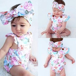 flannel suits 2019 - INS Infants Floral Rompers Bodysuit With Headbands Ruffles Sleeve 2pcs Set Buttons Baby Summer INS Romper Suits 0-2 year