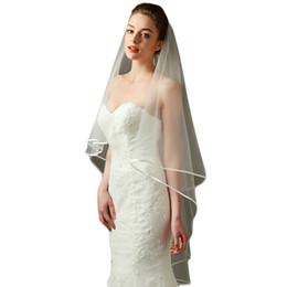 $enCountryForm.capitalKeyWord Canada - Short Ribbon Edge tulle wedding veils Mantilla and Catholic veil For Brides Without Comb
