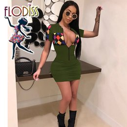 Discount mini racing cars - FLODISS Colourful Plaid Sexy Car Racing Costume 2018 New Summer Women Zip V-Neck Short Sleeve Slim Sport Mini Dress Spor