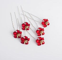 China Brides, brides, headdress, red flowers, U hairpin, wedding accessories, dress accessories. supplier silver hair feathers suppliers