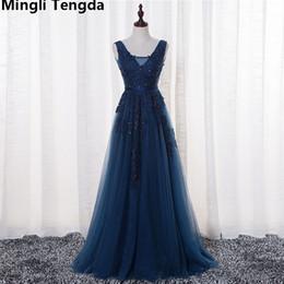 Ankle Length High Neck Wedding Dresses UK - Mingli Tengda High Quality V-neck Elegant Bridesmaid Dresses Backless Long Bridesmaid Dress Wedding Dress Party robe demoiselle d'honneur