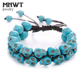 Wholesale MNWT Skull String Jewelry Bracelet Men Women Turquoise Vintage Woven Bracelets Fashion Accessories Jewelry Link Gift Male Pulseira
