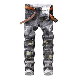 grey distressed jeans 2019 - New Fashion Mens Vintage Slim Fit Skinny Jeans Pants Grey Camouflage Spliced Hole Jeans Distressed Denim Motorcycle Trou