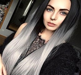 gray human hair wigs 2020 - Straight Ombre 1B Grey Full Lace Human Hair Wig 130% Density with Dark Black Roots 100% Brazilian Virgin Human Hair 1B G