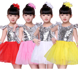 princess dress for kids dance Australia - New 2018 Girls Kids Children's Stage Jazz Dance Clothes Dancewear For Girls Sequins Ball Gown Tutu Princess Dress Costumes Yellow Red Pink