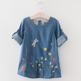 China 2016 spring summer girls dress casual long sleeve shirt embroidered denim jeans dress girls princess dress baby girl clothes suppliers