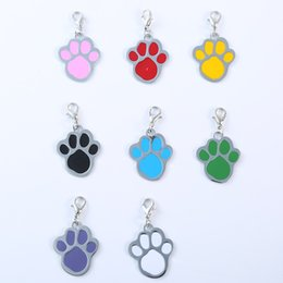 Wholesale Cute Footprint Key Buckle Dog Tag Supplies Keyring Alloy Articles Stainless Steel Keychain Collar Accessories zz Cc