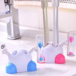 Kids Cute Plastic Stand Toothbrush Holder Rack with 3 Minutes Hourglass Timer Bathroom Tool on Sale