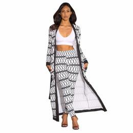 5f7aa22375e Dress Geometric Printed Casual 2 Piece Set Feme Full Sleeve Maxi Long  Cardigan And Summer Elastic Waist Long Pants Streetwear