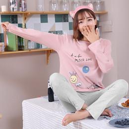 c36867062a Female Pyjamas Autumn 100%Cotton Cartoon Women Pajamas Set Round Neck Leisure  Loose Plus Size M-XXXL Ladies Homewear Clothes