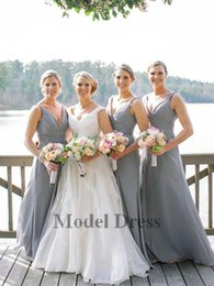 Wholesale 2018 Chiffon Grey Bridesmaids Dresses Long V Neck Pleated A Line Country Maid Of Honor Party Prom Gowns Cheap Custom Made in China